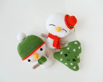 Crochet Snowman and Christmas Tree, Pattern, PDF, English