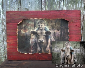Personalized Wall Art. Your image made into a beautiful rustic red barn wood creation.