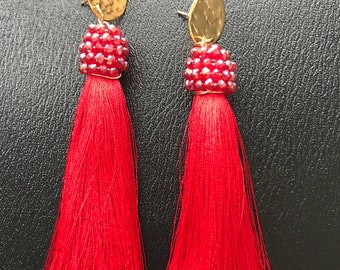 Handmade tassels red earrings