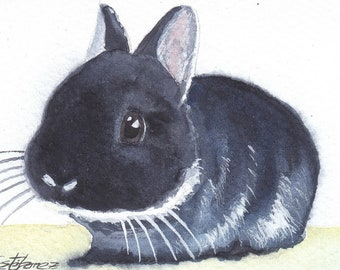 Aceo Original Watercolor Painting Little Rabbit Home Decor Fine Art
