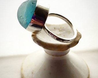 Example of Seaglass marble and sterling silver ring bykitzy