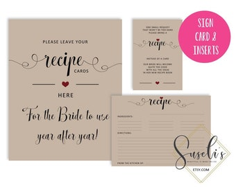 Bridal Shower Recipe Card, Invitation Inserts and Sign, Bring a Recipe Vintage Invitation, Rustic Printable Recipe, DIGITAL FILES, WS14