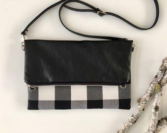 Plaid & Vegan Fold Over Crossbody Purse // Crossbody Bag // Vegan // Handmade Purse // Handmade Bag