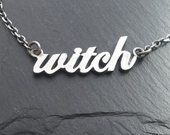 WITCH necklace cursive
