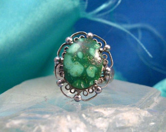 Native Southwest Ring Sterling Silver Natural Oval Turquoise Green Size 7 Marked Filigree #737
