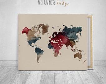World map canvas watercolour art print, ArtCanvasVicky