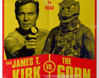 Retro Star Trek James T Kirk vs The Gorn Vintage Fight A4 A3 A2 Poster Print