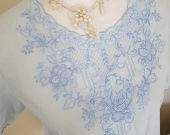 vintage 50s top, embroidered top, pale blue blouse, 50s costume, 50s clothing, blue floral top