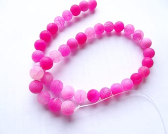 38 smooth frosted agate round beads pink 10 mm ZUI-150