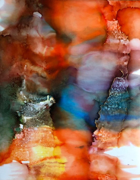 """Original Alcohol Ink Abstract Painting: """"Fresh"""" (11"""" X 14"""")"""