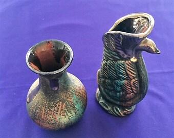 2 Vintage ART NUEVO Hand Painted Ceramic Small Flower VASES