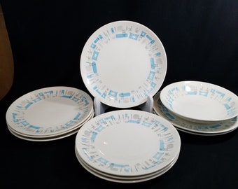 "70s Royal China Blue Heaven 10"" Dinner Plates  and 1 Bowl 9"" Atomic MCM  Made in USA Priced per Piece"