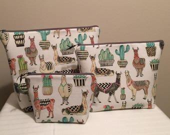 Zipper Bag; Llama Zipper Bag; Women's Zipper Bag; Makeup Bag; Travel Bag