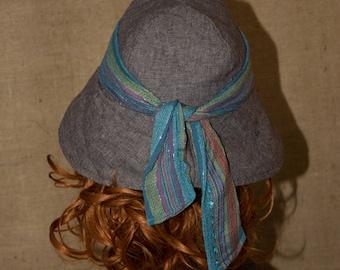 Hat woman cotton handmade France - 59 cm