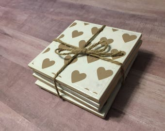 Heart tile coasters (set of 4)