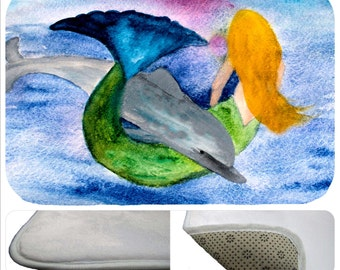 Playful dolphin and mermaid non-skid indoor floor mat  from my art