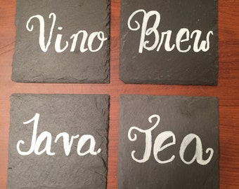 Hand Lettered Slate Drink Coasters