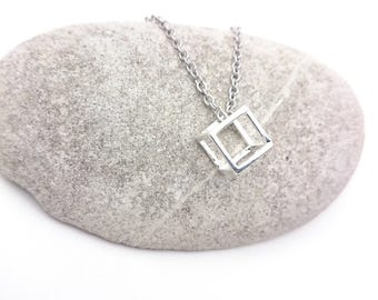 Silver tiny cube Necklace geometric stainless steel chain / Silver plated 925 brass cube pendant 3D minimal geometric necklace