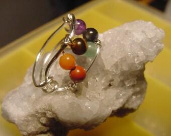 SALE!! Chakra Ring, Semi  Precious Stones, Wire Wrapped Silver, Harmonize, Reiki Jewelry, Chakra Jewelry, Healing Jewellery, Spiritual