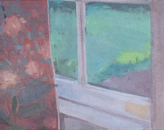 original painting - window view in late spring / oil painting / contemporary art / landscape painting / daily painting / contemporary art