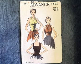 Vintage 1950's ADVANCE 3 halter top patterns