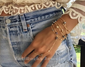 Adriana Pearl Hand Chain, Freshwater Pearl Bracelet, Bridal, Wedding, Boho Wedding