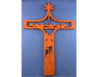 Town Of Bethlehem Christmas Cross - Hand Cut From Padauk