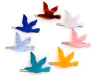 Vintage Bird Barrettes - French Plastic Hair Clips - Rare Made in France 1970s + 1980s New Old Vintage - sold by Mane Message