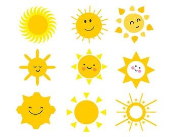 Sun svg - sun clipart - sun face clip art  Cutting Template SVG EPS Silhouette DIY Cricut Vector digital  Download
