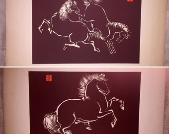 Lot of 2 Vintage MCM Mid Century Japanese Chinese Horse Wood Block Prints Signed Brown White
