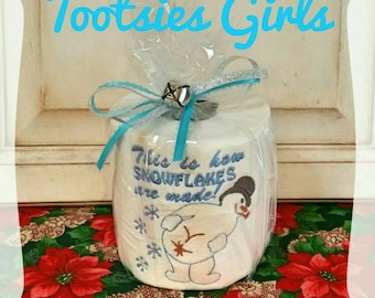 Funny Farting Snowman Christmas Gift! Perfect White Elephant, Hostess, or Gag Gift Embroidered Toilet Paper Last Minute Gift Quick Shipping!