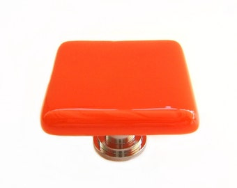 Orange Nectarine Glass Knob l Kitchen Hardware l Glass Cabinet Knobs