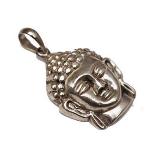 Sterling  Face  Pendant - 925 silver hallow -  Mask Tribal - necklace pendant charm
