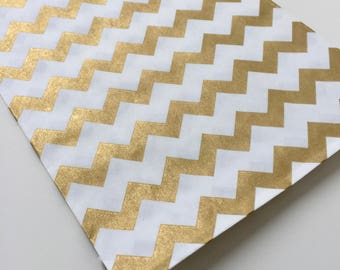 Gold paper bags gold chevron bags Gold favour bags gold treat bag gold birthday party 50 gold bags