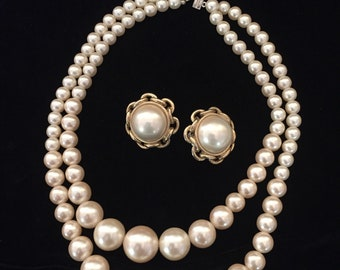 Vintage Faux Pearl Necklace with Earrings