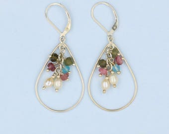 Tourmaline & Pearl Cluster Tear Drop Hoop Earrings 925 Sterling Silver
