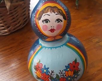 Doll Gourd, Art Doll, Hand Painted Gourd Doll, Home Grown, Gourd Girl, Gourd Gift