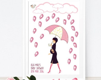 Baby Rain Keepsake Guest book Alternative