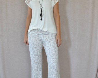 SALE Lace Flare Pants in Ivory