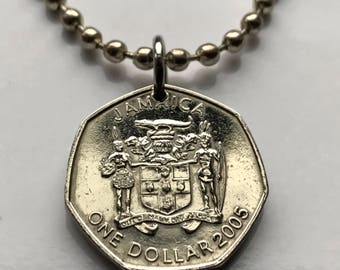2005 Jamaica Dollar coin pendant Jamaican Patois crocodile pineapples Kingston alligator Montego Bay Ackee fruit Caribbean necklace n001903