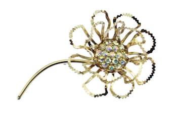 Sarah Coventry Flower Brooch, Rhinestone Flower Brooch, Large Gold Flower Brooch, Large Gold Flower Pin