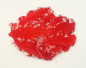 Red on White Nagorie Feather Pads 2 tone Curled goose Feather Pads for Headband hair accessories Hair Clips Annielov Feather 10
