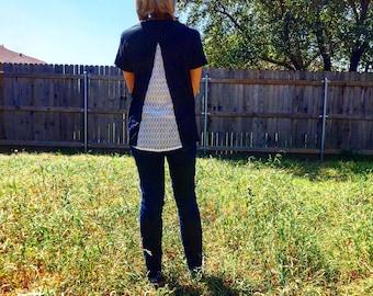 Lace backed T-shirt, t-shirt refashion