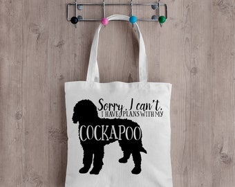 Sorry I can't I have Plans with my Cockapoo Bag, Cockapoo, Dog Bag, Canvas Tote Bag, Dog Lovers Gift,  Shopper, Long Handles , Handmade
