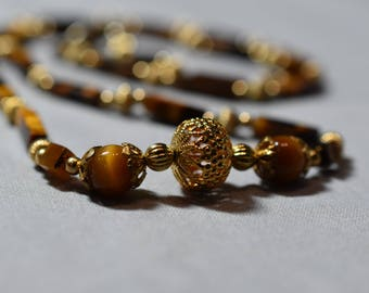 Tigers eye and gold necklace