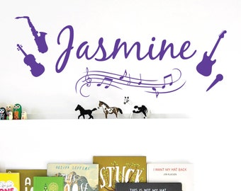 WD101023 | Personalised Name Wall Art Sticker - Music Notes, Instruments, Guitar, Violin, Saxophone