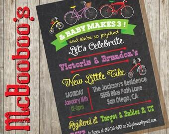 Chalkboard Bicycle Baby Shower Invitation