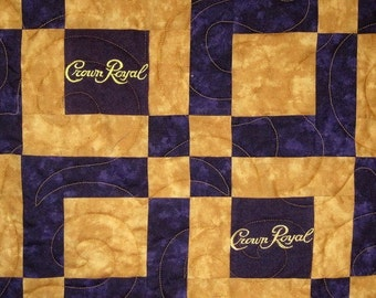 Small Lap Sized Crown Royal Quilt Made from Your Bags