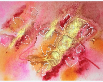 Pink, Orange and Gold with hearts  Abstract watercolor original painting PRINT , wall hanging, home decor