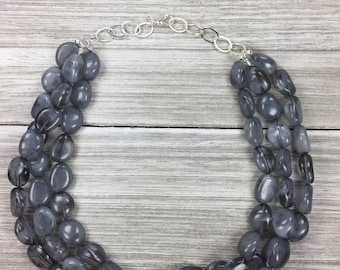 Grey And Black Necklace - Smoke Multi Strand Layer Necklace - Statement Necklace - Beaded Bold Gray - Gifts For Her - Wedding Jewelry